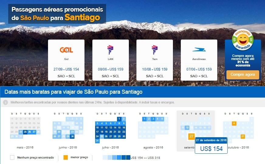 Comparador de passagens aéreas baratas para Santiago do Chile