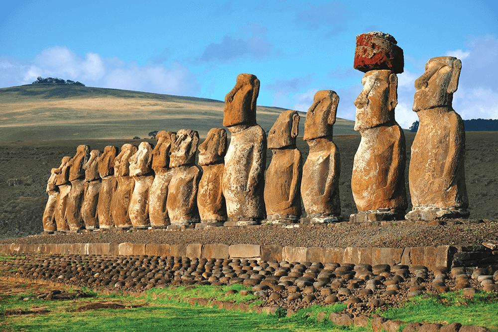 Parque Nacional Rapa Nui na Ilha de Páscoa no Chile: moais