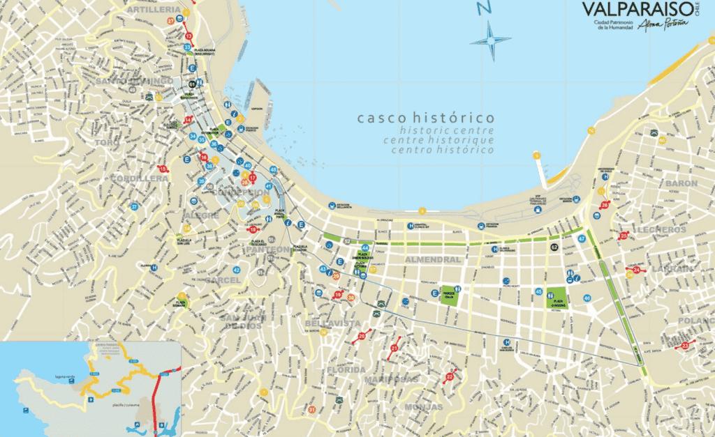 Mapa das regiões de Valparaíso