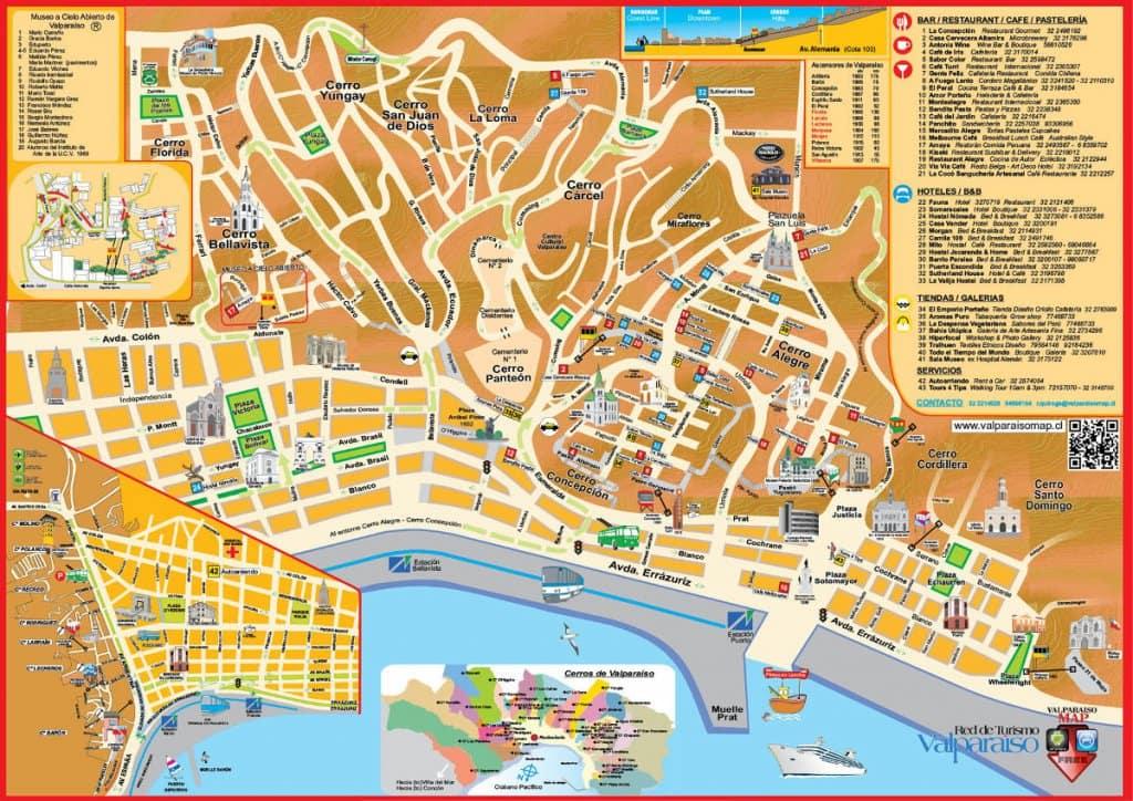 Mapa turístico de Valparaíso