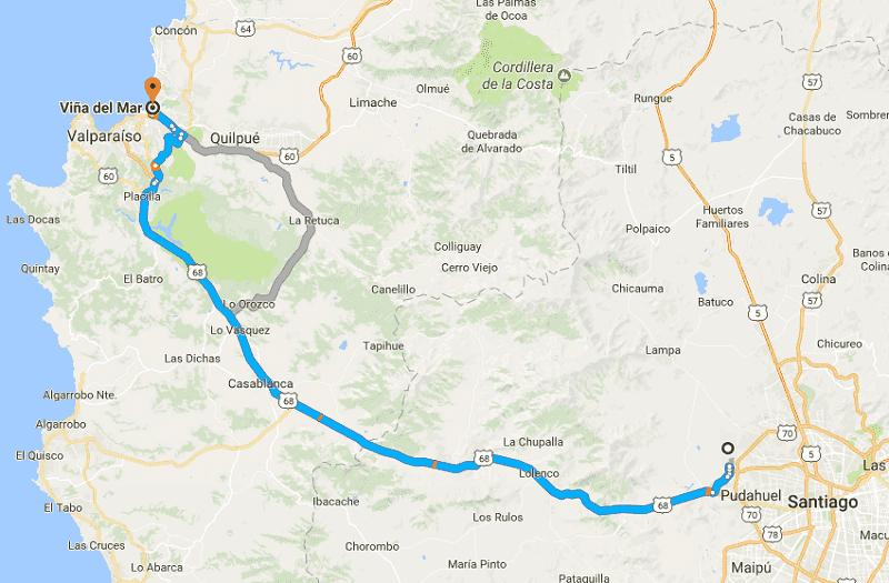 Trajeto da viagem de carro de Santiago a Viña del Mar