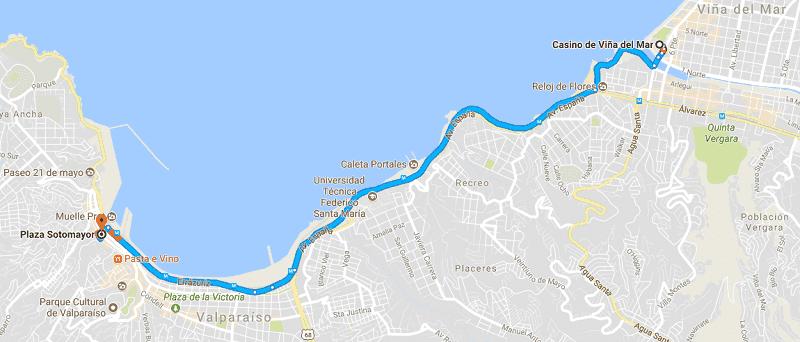 Trajeto da viagem de carro de Viña del Mar a Valparaíso