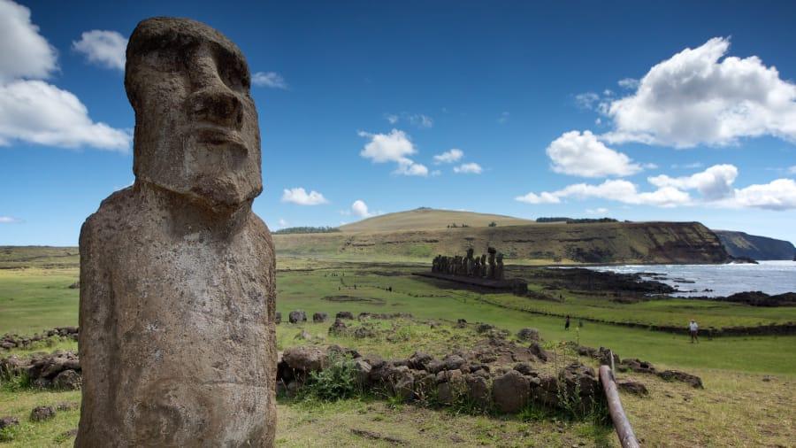 Moai na Ilha de Páscoa, no Chile