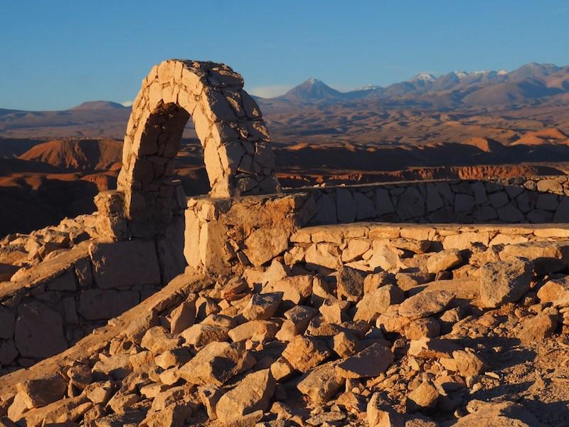 Sítio arqueológico Pukará de Quitor em San Pedro de Atacama no Chile: ruínas